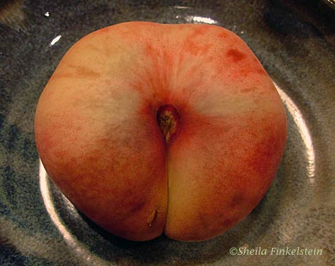 shiny saturn peach in a dish