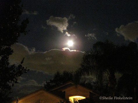 Moon, Clouds and House Light