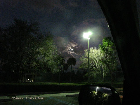 Moon, Clouds and Parking Lot Lamp